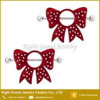 Wholesale Red Bow Nipple Ring Bars Body Piercing Jewelry