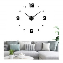 Large DIY Wall Clock Modern 3D Wall Decorations Clock with Mirror Numbers Stickers Gift