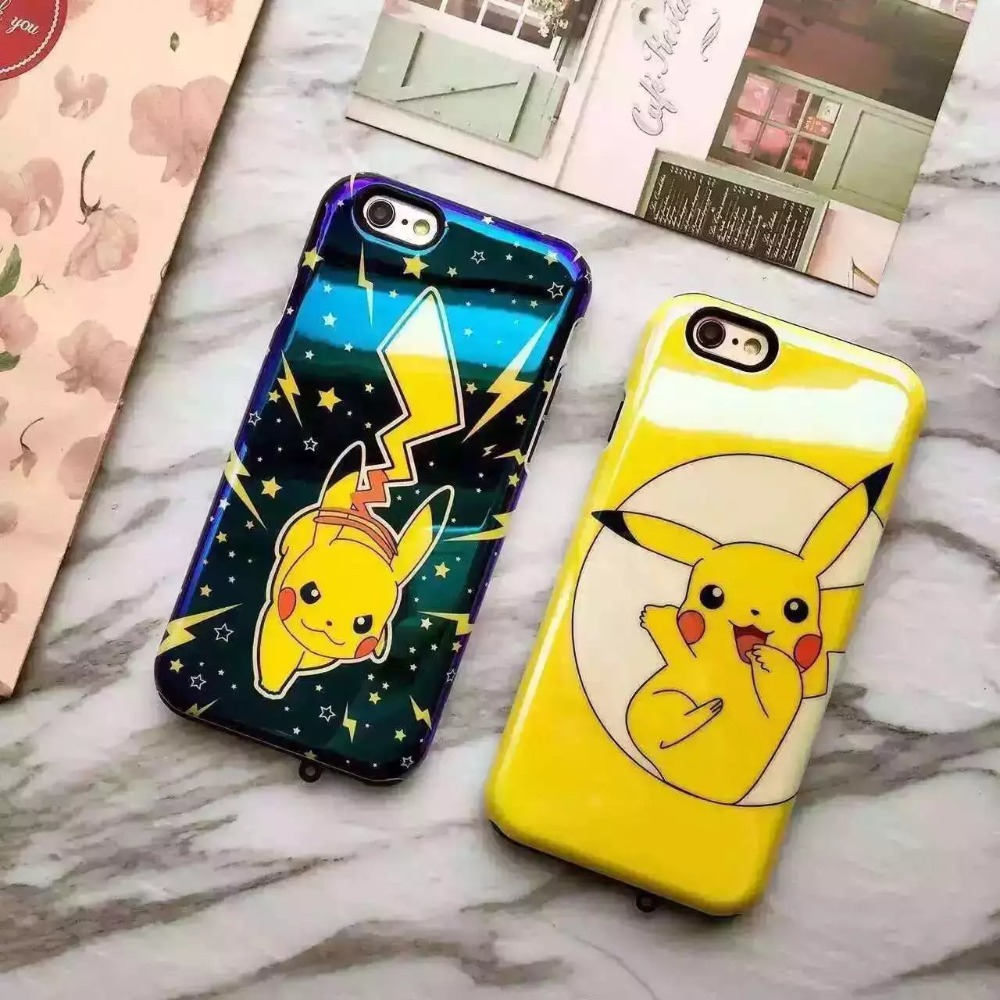 Combo Silicone PC Cartoon Pokemon Go phone case for iPhone 6