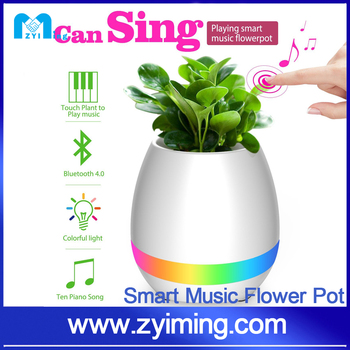 Zyiming hot sell Night Light Music Speaker Plant Pots Touch Lamp led Smart plastic Flower pot