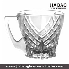 Russian style diamond design glass tea cup crystal glassware with handle