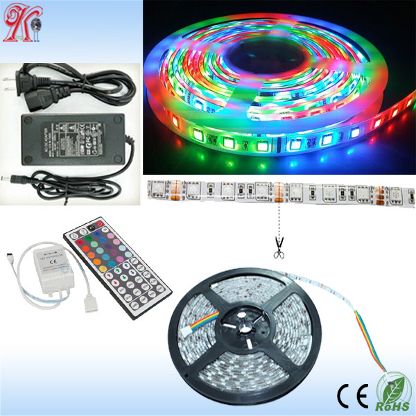 2014 hot sale high quality factory price 3 years warranty 18-20lm SMD 5050 led strip rgb with 24 keys remote for chrismans tree