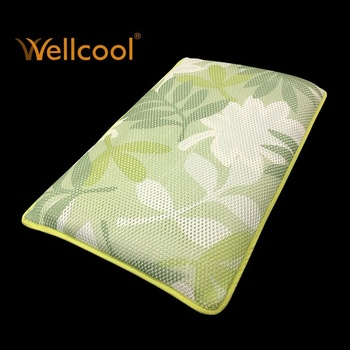 cooling 3d green leaves pattern po spacer fabric pillow
