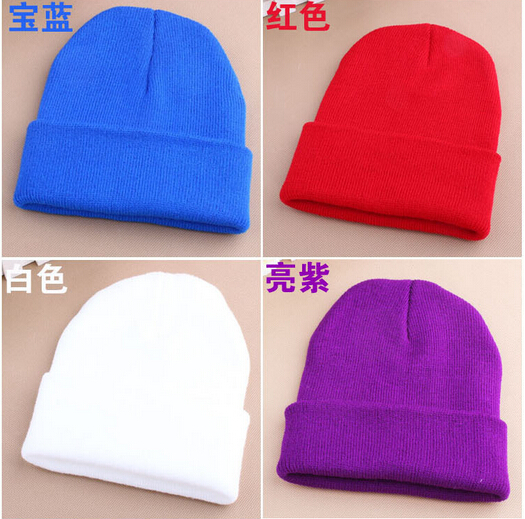 Fashion Knitted Multi Color Wholesale OEM Logo Custom Design Winter 100% Acrylic Beanie Hat