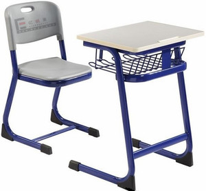 Cheap student desk and chair plastic chair wood table school furniture school furniture set supplier
