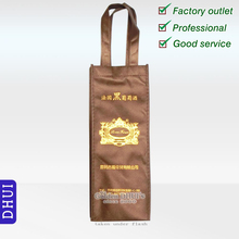 custom nonwoven golden logo wine bag, cute high quality logo 1 bottle bag,can be customized with pvc window bottle tote bag