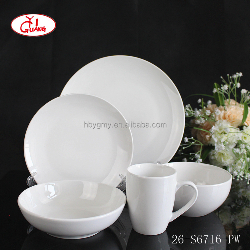 Coupe shape plain white china dinnerware