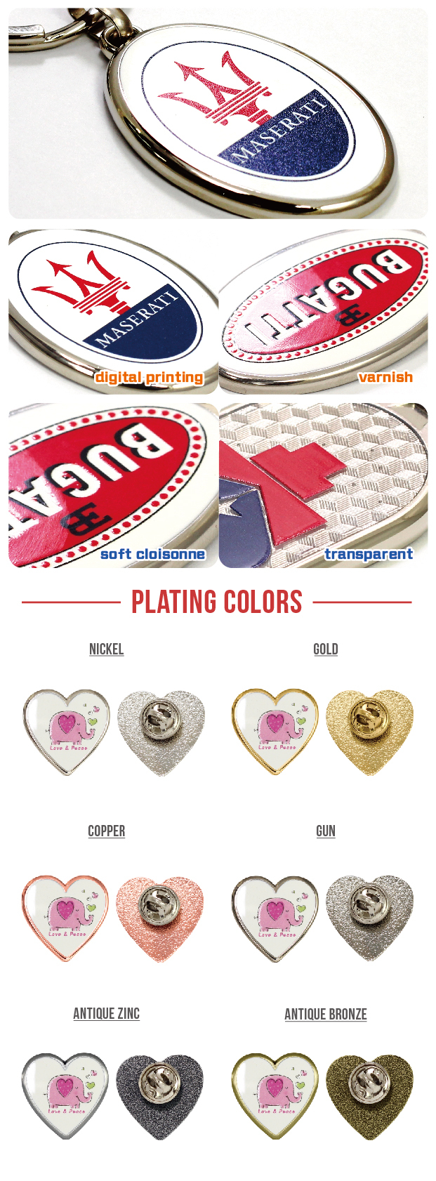 Customized Heart Shaped Metal Pin for Wedding Gift