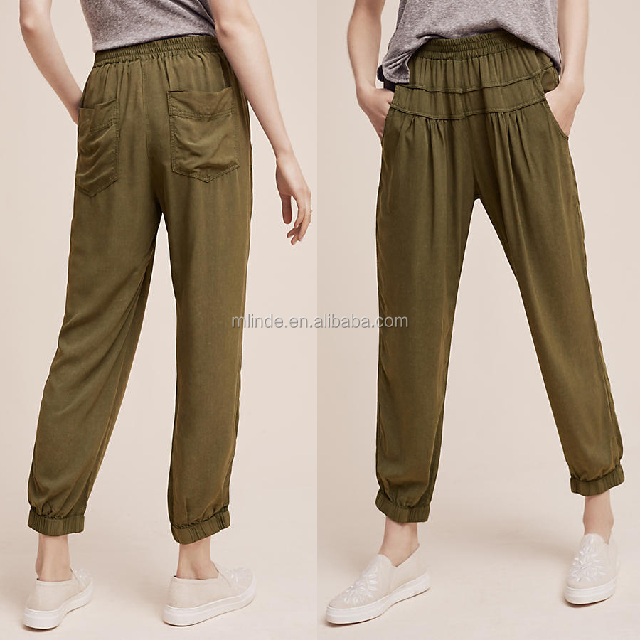New Style Women Fashion Wholesale Custom Pants Sun Rayon Smocked Jogger Pants Trouser High Quality