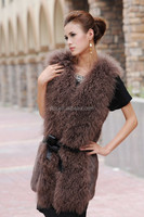 Ladies Genuine Brown Color Rabbit And Mongolian Lamb Fur Vest