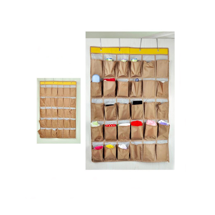Household essential tools over the door shoe organizer brown hanging bag 30 pockets