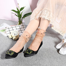 WS-9 Glitter Mesh Socks Sexy Pearl Women Socks Silk Female Transparent Meias Harajuku Funny Sox Elastic