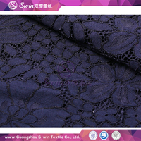 Hot Sales in French Chantilly Nylon Cotton Viscose Material Lace Royal Blue Velvet Fabric