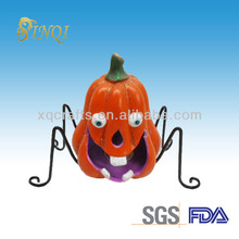 Ceramic Pumpkin Halloween Decoration Craft With Metal Accessory