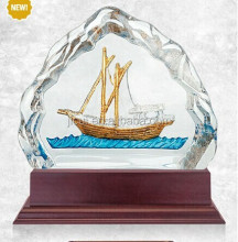 High quality custom design boat shape crystal trophies, crystal award made in china