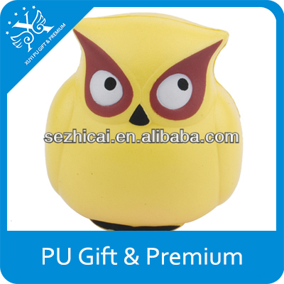 promotional pu stress toy owl pu stress owl bird for children toy high quality pu owl stress balls for promotion