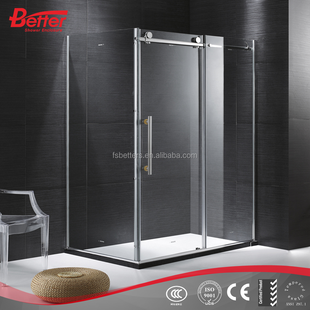 simple frameless tempered glass sliding curved cheap plastic shower enclosure