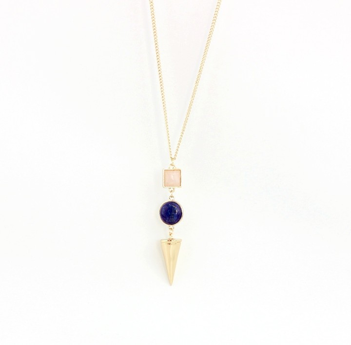 Gold Plating Bullet Amethyst Bar Layered Pendant Necklace