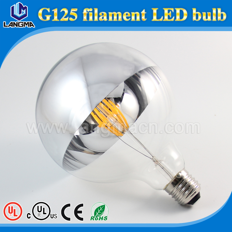led mirror bulb e26 e27 b22 G125 silver glass,mirror glass decorative lighting led mirror bulb