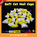New Colour Double Colour Yellow & White Soft Silicon Cat Nail Caps /Cat Claw Caps With Free Glue And Applictor