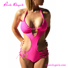 Rose red halter one piece beach wear woman sexy japanese brazilian swimwear