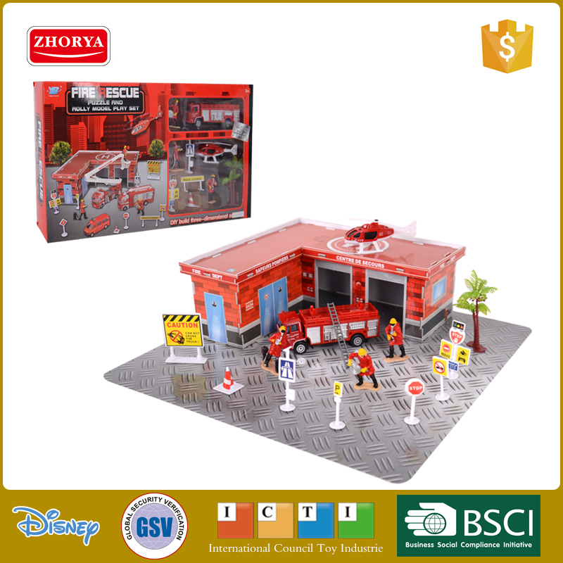 Zhorya kids preschool pretend plastic fire station play set toy with small diecast metal toy fire truck and helicopter