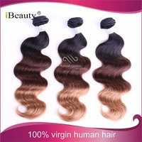 iBeauty hair products 100 colourful human hair three tone ombre body wave hair weave 1b 27