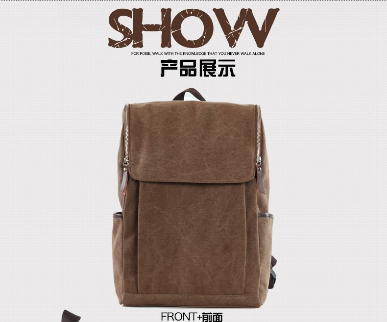 2016 Hot Sell Fashional Leisure Men Canvas Backpack School Bag