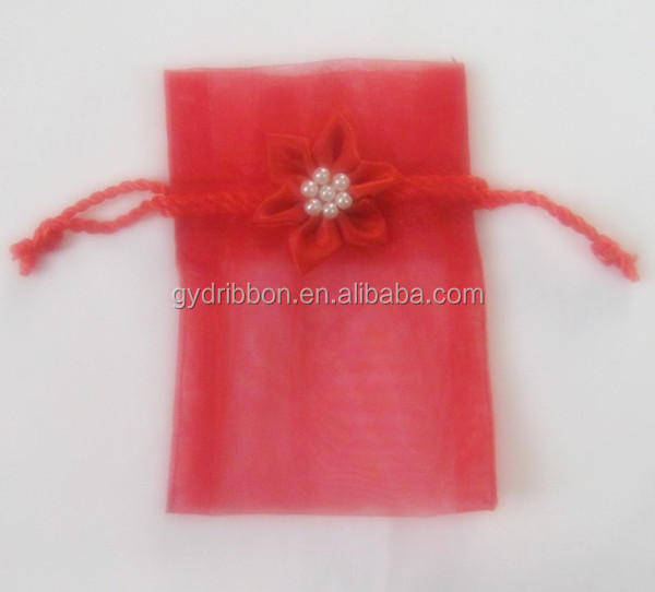 Rose Jacquard Wine Red Organza Jewelry Pouches for Packing Ornaments/watch/mobile phone