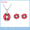 2016 jewelry set red mouth charm necklace and earrings set wholesale guangzhou jewelry
