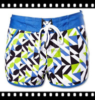 Full Print Mesh Lining Sexy Women Beach Swim Shorts