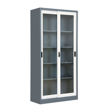 Modern Office Furniture Metal Steel Glass Sliding Door Filing Storage Cabinet