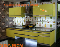 Modern cheap lacquer faced stainless steel kitchen cabinet made in china kitchen cabinet design for small space