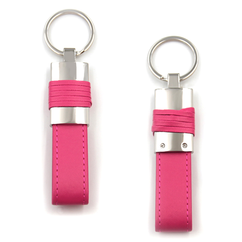 Cheap custom embossed leather keychains for women