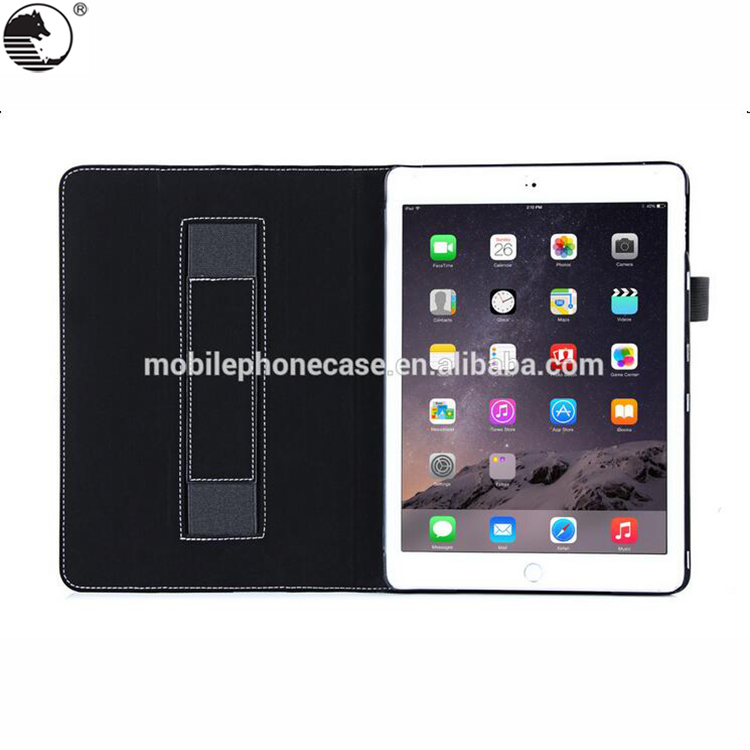 Factory Price File Folder Leather Wallet Smart Tablet Case For Ipad Air 2