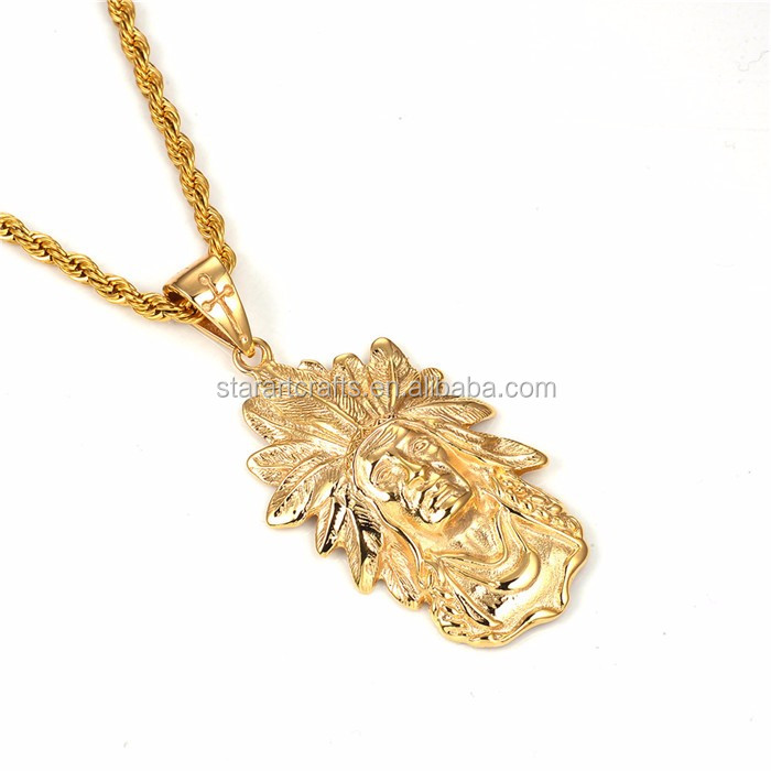 High Quality Indian Chief Charm Pendant Necklace New Arrival Vintage Stainless Steel Gold Chief Geronimo Head Retro Cuban Chain