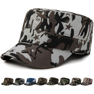 Wholesale Cheap Men Cotton Adjustable Flat Hiking Military Camo Camouflage Baseball Cap