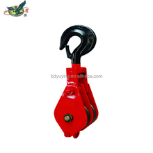 Double wheel sheave pulley block with hook