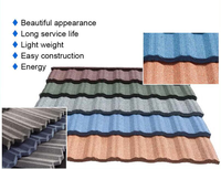 Natural colorful stone chips and durable Al-Zn base plate Material Stone coated metal roofing tiles