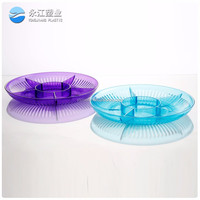 wholesale food container with lid high foot serving tray plastic rectangular tray for vegetable