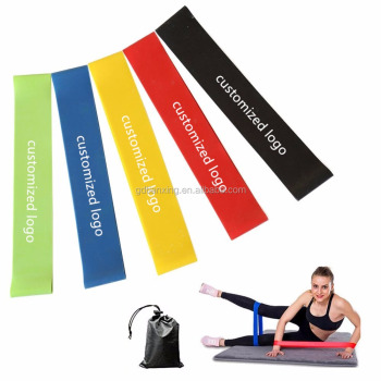 Different Levels Workout Various Color Set of 5 Exercise Resistance Loop Bands