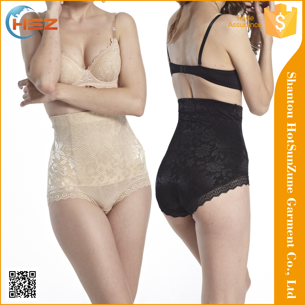 HSZ-1114 New Arrival Ladies Sexy Sheer Underwear Shapewear Panties Slimming High Waist Lace Panty