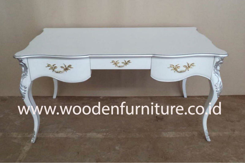 Antique Reproduction Desk French Style Study Table White Painted
