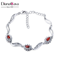 Casual Style Jewelry Fashion Flower Charms Platinum Plated Brass Jewelry Bracelet