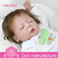 NPK Doll Wholesale Full Body Soft Silicone / Vinyl Reborn Baby Doll 22 inch Sleeping Boy Doll Closed Eyes