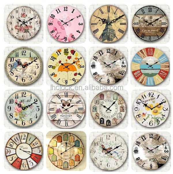 Wooden Wall Clock Kitchen Antique Shabby Chic Retro Home