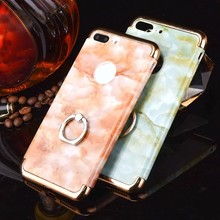 For iphone 7 Case Marble Pattern Ring stand 3 in 1 style Electroplating Bumper Plastic Hard back Cell Phone case for iPhone 7