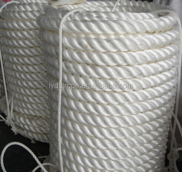 white 3 strand twisted polyester mooring rope