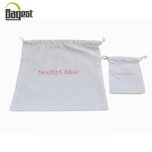 Logo printed cotton drawstring dust bag for shoes