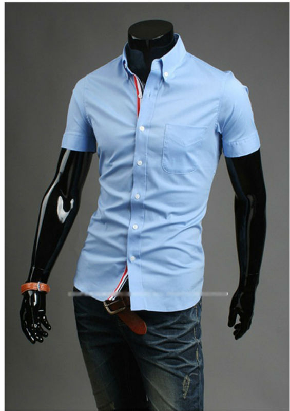 Mens Casual Solid Denim Slim Fitted Shirts Button Down Pocket ...